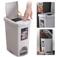 Tipo de prensagem de plástico lata de lixo balde grande tamanho quadrado lixo escaninhos pé pedal casa lixo bin saco titular