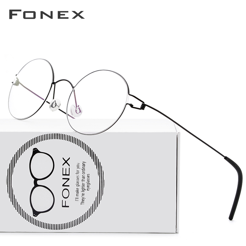 FONEX Screwless Eyewear Prescription Eyeglasses Frame Women Round Myopia Optical Denmark Korean Glasses Frame Men Titanium 98607