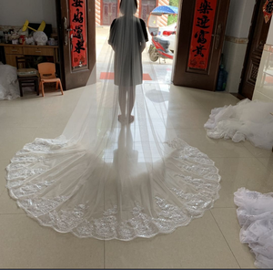 Image 4 - wedding veil White Ivory Cathedral Wedding Veils Long Lace Edge Bridal Veil with Comb Wedding Accessories Bride Veu