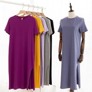 Casual Women Split Long Dress O-neck Short Sleeve Solid blue Summer Cotton T shirt Dress Sales M30465 1