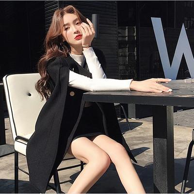 New double breasted Fashion Cloak Blazer Women Black Split Jacket Coat Female Casual Blazers women Woolen cloak coat women