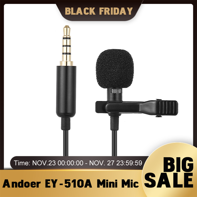 Andoer EY 510A Mini Portable Clip on Lapel Lavalier Condenser Mic Wired Microphone for iPhone iPad DSLR Camera Computer