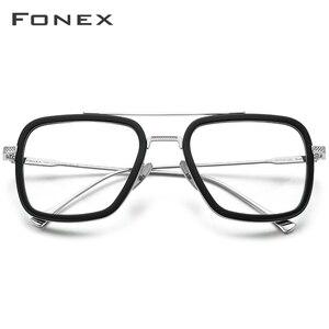 Image 2 - FONEX Pure Titanium Acetate Men Retro Tony Stark Glasses Frame Myopia Optical Edith Prescription Eyeglasses for Women 8512