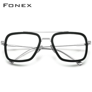 Image 2 - FONEX czysty tytan octan mężczyźni Retro Tony Stark okulary rama krótkowzroczność optyczne Edith okulary korekcyjne dla kobiet 8512