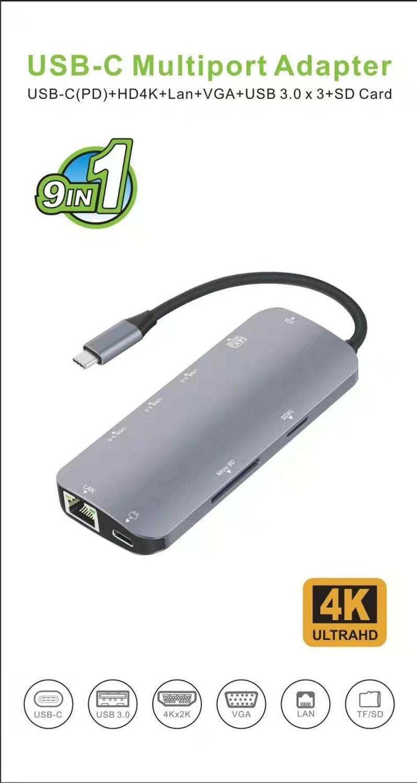 9in1 USB type-c 3 Hub vers HDMI VGA 4K RJ45 USB3.0X3 Hub USB-C PD TF SD Slot adaptateur de câble Audio