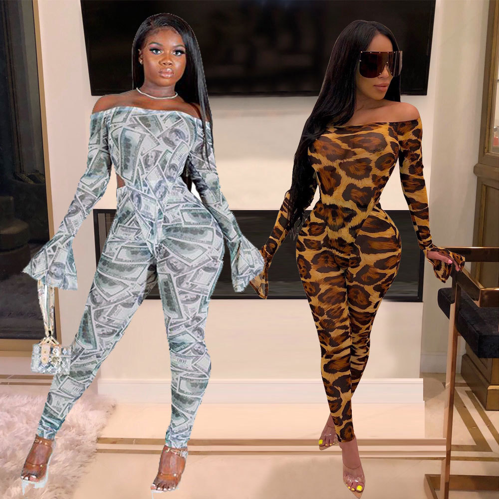 Screen Printing Shoulder Horn Sleeve Two Sets Of Party Club Women's Wear Evening Party Bodysuit Femme Jumpsuit Sexy Trousers