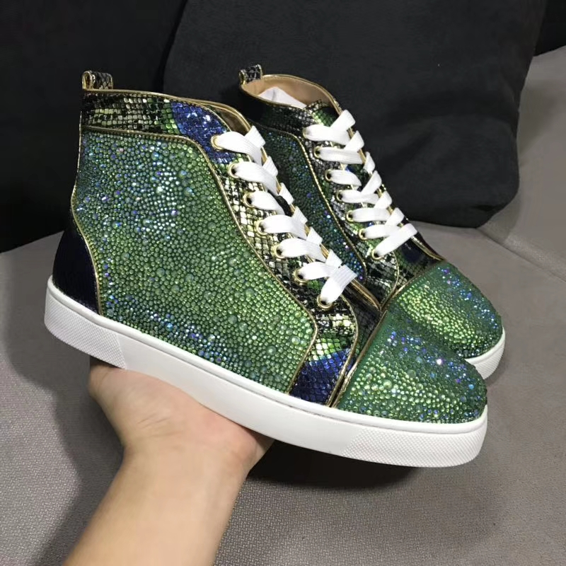 Lace Up Designer Red bottoms Shoes For Men Women leather Rhinestone diamond High Top Sneakers Flat Footwear casual shoes