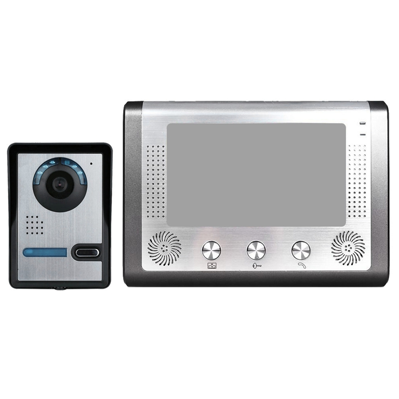 Mountainone 7-Inch Night Videophone Doorbell With Infrared Rain Intercom System Black +Silver Abs +Aluminum Alloy Eu Plug