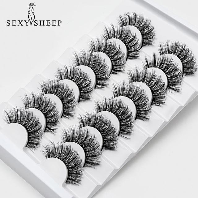 SEXYSHEEP 4/8 pairs 3D Mink Lashes Natural False Eyelashes Dramatic Volume Fake Lashes Makeup Eyelash Extension Silk Eyelashes 5