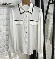Top Quality Silk Blouse Shirt 2020 Spring Summer Elegant White Black Blouses Women Turn down Collar Golden Chain Deco Blouses OL