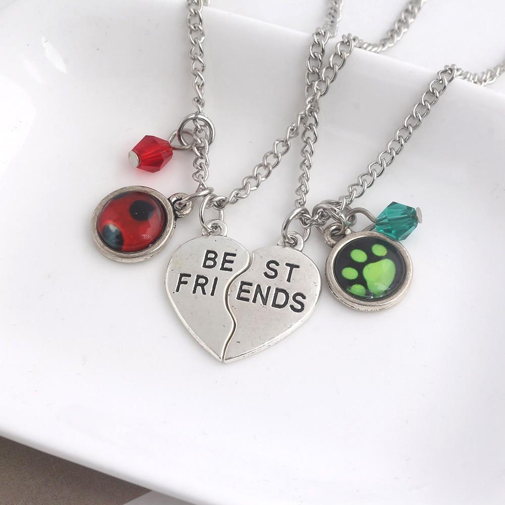 2019 Chat Noir Ladybug Necklaces Best Friends Choker Half Heart Pendant Women Girls Couple Jewelry Bff Friendship Love Gift