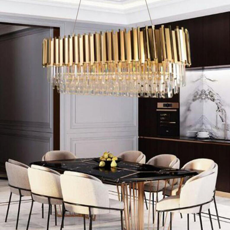 Image 2 - Manggic Modern Crystal Lamp Chandelier For Living Oval Luxury Gold Round Stainless Steel Line Chandeliers Lighting-in Chandeliers from Lights & Lighting
