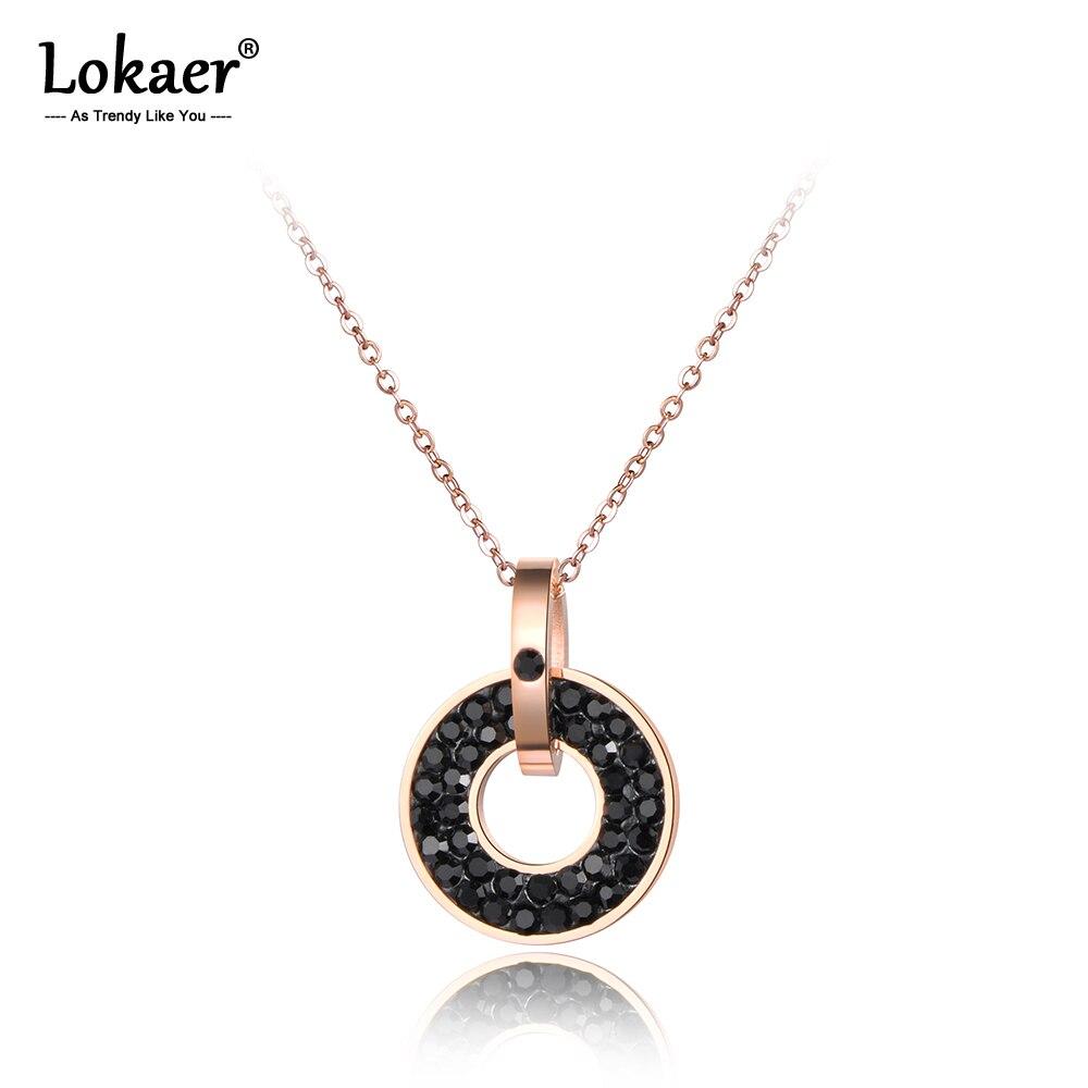 Lokaer Edelstahl Schmuck Schwarz & Weiß Kristalle Anhänger Runde Form Rose Gold Farbe Halskette N18072