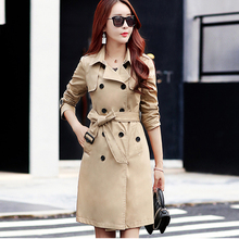 High quality Autumn New High Fashion Brand Woman Classic Double Breasted Trench Coat Waterproof Raincoat Business Outerwear cheap Hundred teng Full WOMEN Broadcloth Formal Polyester spandex COTTON Pockets Button Adjustable Waist Solid Long WT0029 Turn-down Collar
