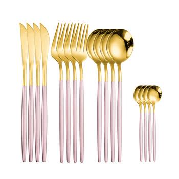 Zastawa stołowa różowe złoto sztućce zestaw 304 Forst luksusowe obiadowy ze stali nierdzewnej domu widelec nóż łyżka kuchnia zestaw obiadowy tanie i dobre opinie Iyeafey CN (pochodzenie) Zachodnia Metal STAINLESS STEEL Frost Stałe Ce ue Lfgb Ekologiczne Tableware set Łyżka widelec nóż pałeczki zestaw