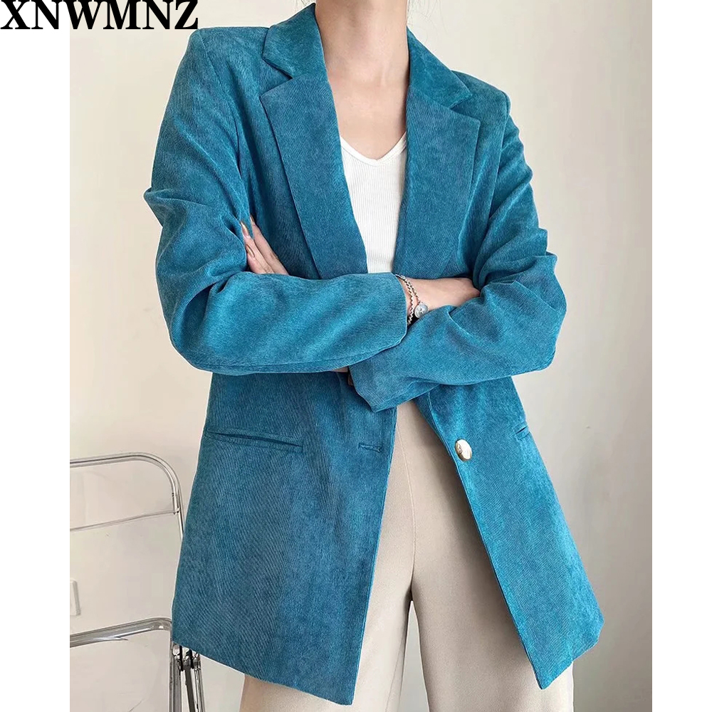 XNWMNZ Za Fashion Autumn Women Solid Blazers Jackets Work Office Lady Suit Slim Single button Business Female chic Blazer Coat
