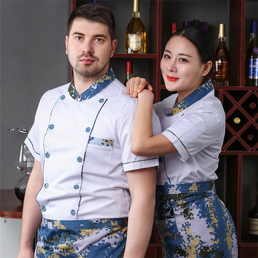Adult Chef Jacket Kitchen Clothing Short/Long Camouflage Sleeves Restaurant Cook's Sushi Uniform Food Service Work Wear