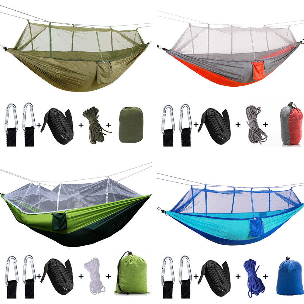 Closeout DealsüCamping Hammock Hanging-Bed Parachute Fabric Mosquito-Net Sleeping-Swing Hunting Outdoor