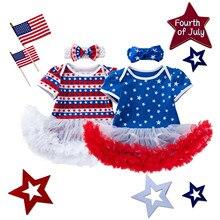 Одежда для новорожденных Одежда для маленьких девочек с бантом и с принтом в виде звезд на День независимости шифоновая Тюлевое платье-пачк...