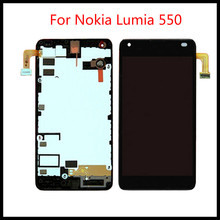 цена на Top quality 100%New LCD For Nokia Lumia 550 LCD Screen with Touch Screen Display Digitizer Assembly With Frame