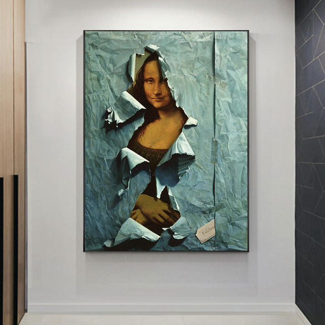 The Famous Mona Lisa Spoof Painting Printed on Canvas 1