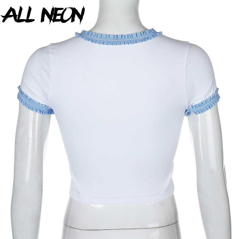 ALLNeon Y2K Kawaiiดอกไม้กราฟิกและเย็บปักถักร้อยเสื้อยืดสีขาวE-สาวน่ารักO-Neckสีฟ้าลูกไม้แขนสั้นcrop Tops