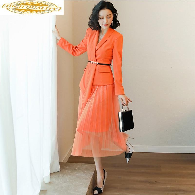 2020 Spring Autumn Women Office Dress Elegant Ladies Formal Suit Tops + Mesh Skirt Casual Two Piece Set Women Clothes ZT1980