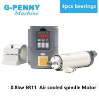 220V 800W ER11 Air cooled spindle motor 4 bearings Precision 0.01 & 0.8kw VFD inverter & 65mm aluminium bracket clamp