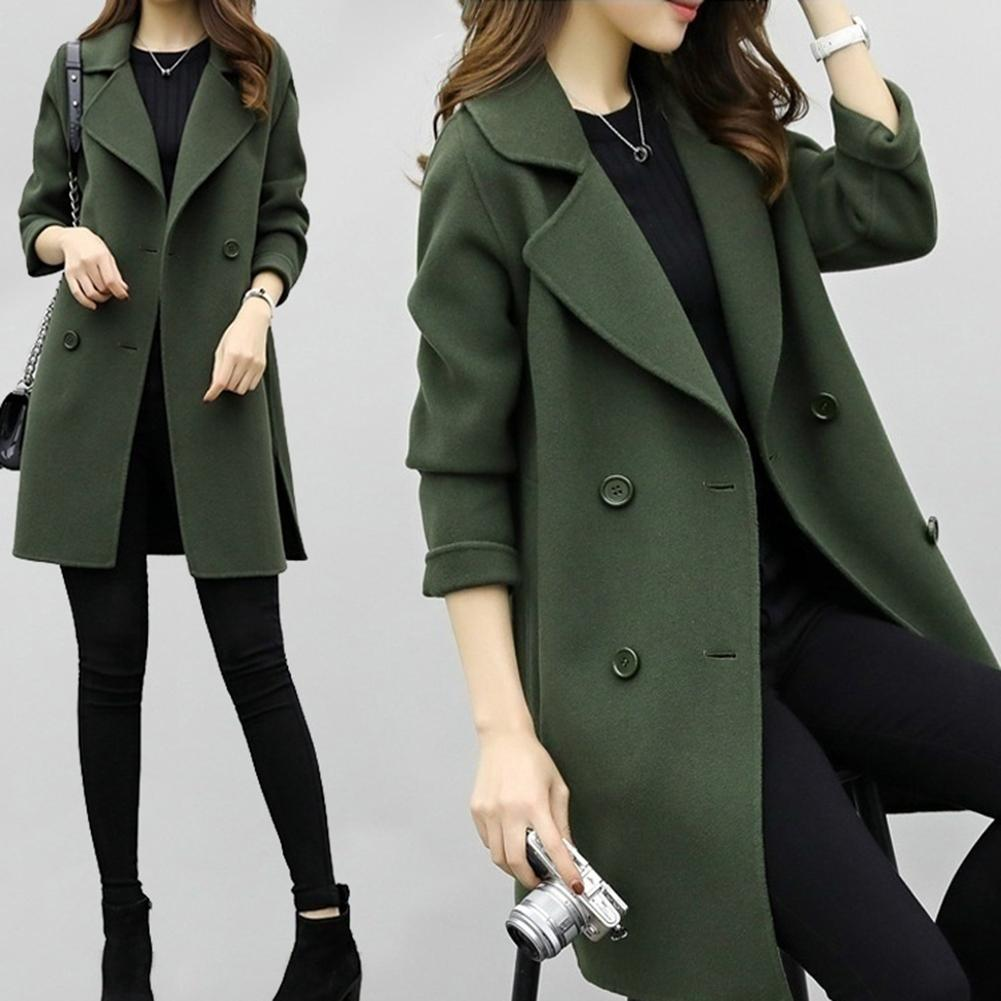 Sweater Women Autumn Winter Solid Color Lapel Double-breasted Woolen Midi Trench Coat Pull Femme Hiver кофта женская