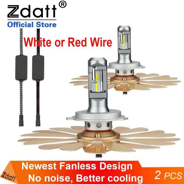 Zdatt H7 LEDไฟหน้าH11 H4 12 V LEDหลอดไฟlampadas CANbus H8 H9 9005 HB3 9006 HB4 ZES Fanlessรถ 100Wไฟตัดหมอกอัตโนมัติ