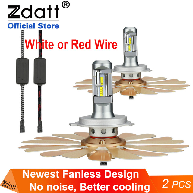 Zdatt H7 Led farlar H11 H4 12v LED ampul lampadas Canbus H8 H9 9005 HB3 9006 HB4 ZES fansız araba ışık 100W otomatik sis lambası