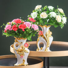 Vase-Ornaments Home-Decoration-Accessories Dry-Flower European-Style Golden Ceramic Living-Room