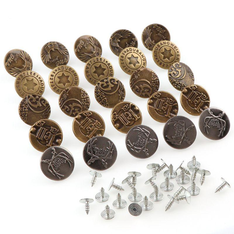 25 шт. бронзовые джинсовые пуговицы металлические кнопки Замена Комплект с заклепками Y1QD