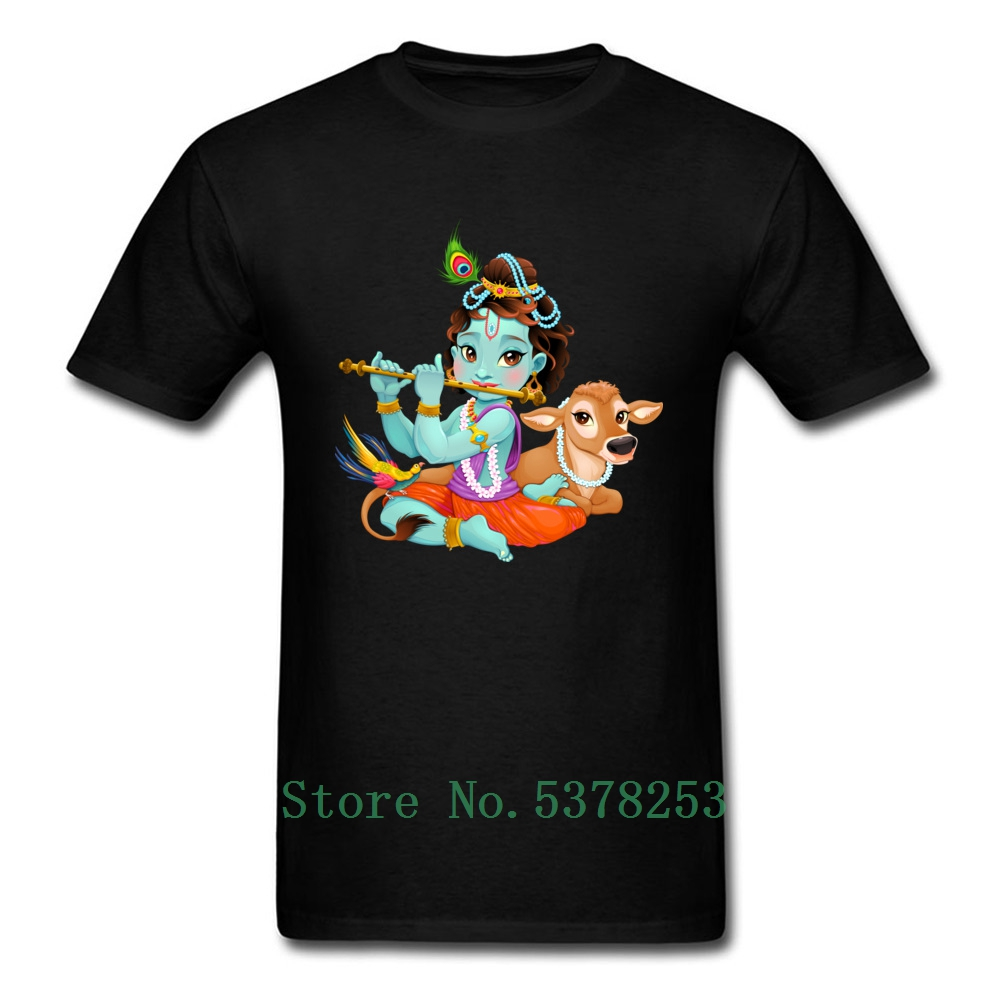 Baby Krishna With Sacred <font><b>Cow</b></font> <font><b>T</b></font> <font><b>Shirt</b></font> Men Gift Tshirt Tees Newest Pure O Neck Adult <font><b>T</b></font>-<font><b>Shirts</b></font> Summer Sweatshirts Tops image