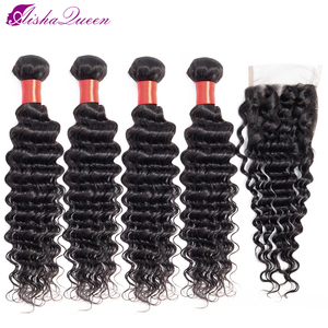 Aisha Queen Deep Wave Bundles With Closure 5Pcs/Lot Brazilian Hair Weave Bundles Non Remy Human Hair 4 Bundles With Closure