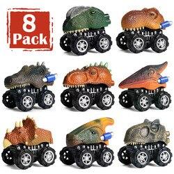Puxar para trás dinossauro carros 8 pacote mini dino carros dinossauro veículo crianças brinquedos presente
