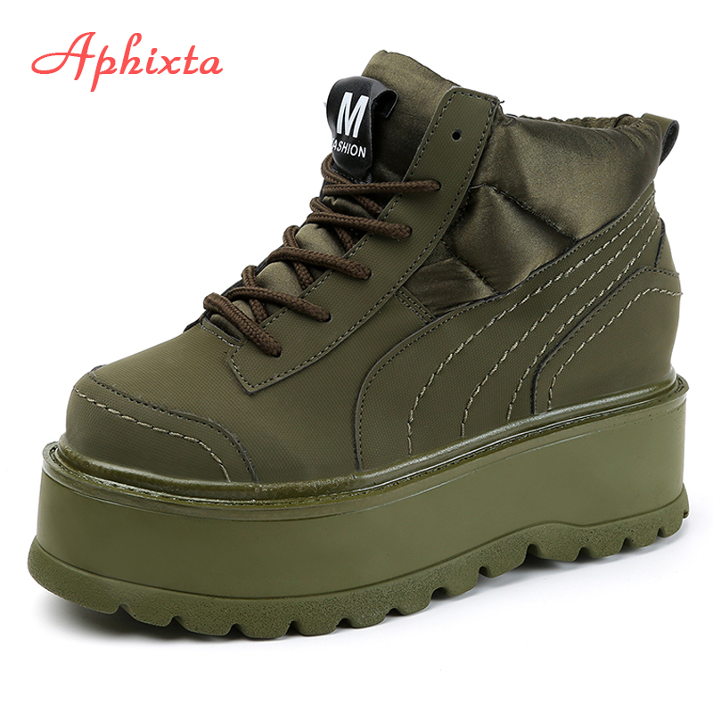 Aphixta Platform Lace-up Ankle Winter Women Boots High Quality Height Increasing