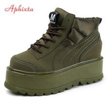 Aphixta Platform Lace-up Ankle Winter Women Boots High Quali