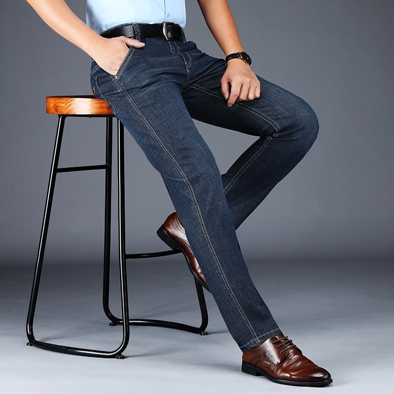 Male Jeans Men Men'S Jean Homme Denim Slim Fit Pants Trousers Straight Black Biker Business Casual Fashion High Quality Famous