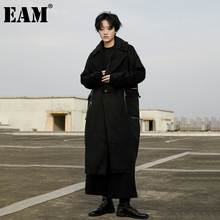 Burr EAM Parkas Woolen Coat Pocket Long-Sleeve Thick Autumn Winter Fashion Women New