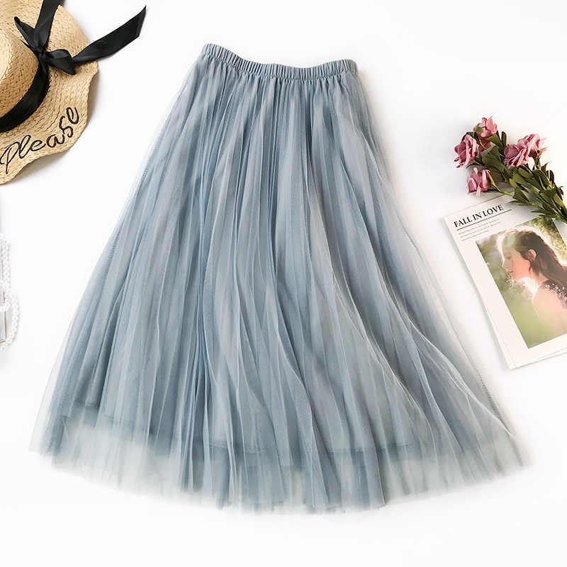 Women High Waist Tulle Skirts Spring Casual Female Tulle Long Skirt Elastic Waist Black Pink A-line Skirt