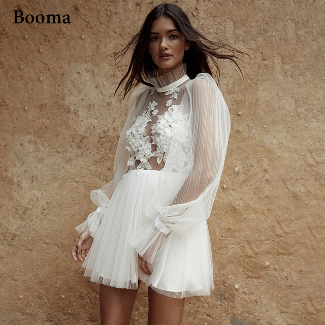 Booma Simple Backless Short Wedding Dresses Long Sleeves Pleated Tulle Mini Bride Dresses Flowers Illusion Civil Wedding Gowns 1