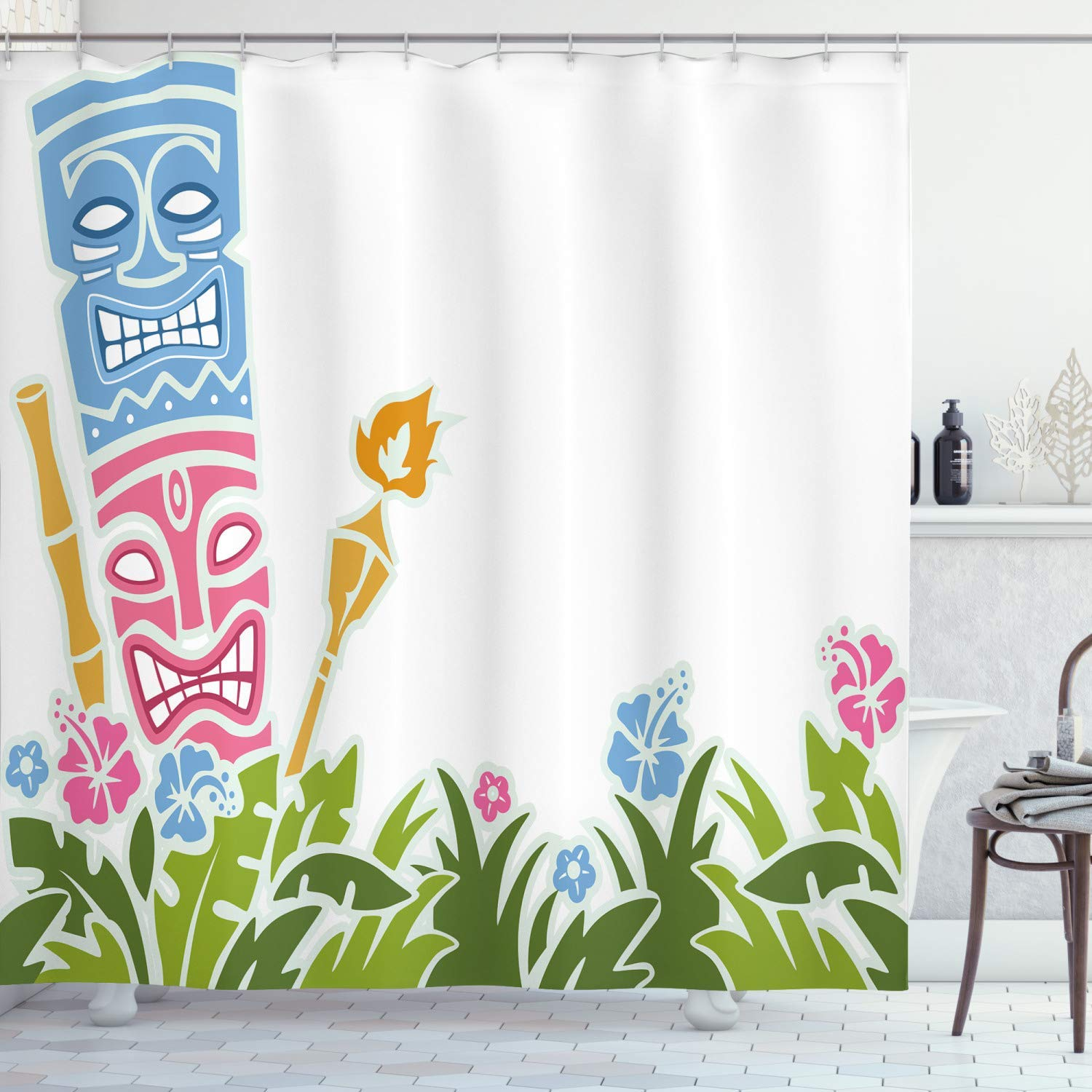 Tiki Bar Shower Curtain Surrounded By