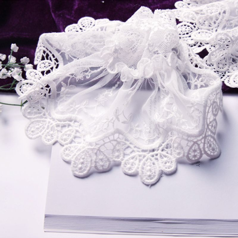 Female Sweater Fake Sleeves Hollow Out Crochet Floral Lace Horn Cuffs Embroidery Flounces Ruffles Elastic Wrist Warmers