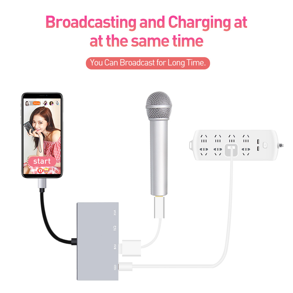 MeloAudio Lightning to USB OTG Audio Adapter, Male to Female, with Broadcast Charge Aux Jack-Sync Function, No APP Needed 3