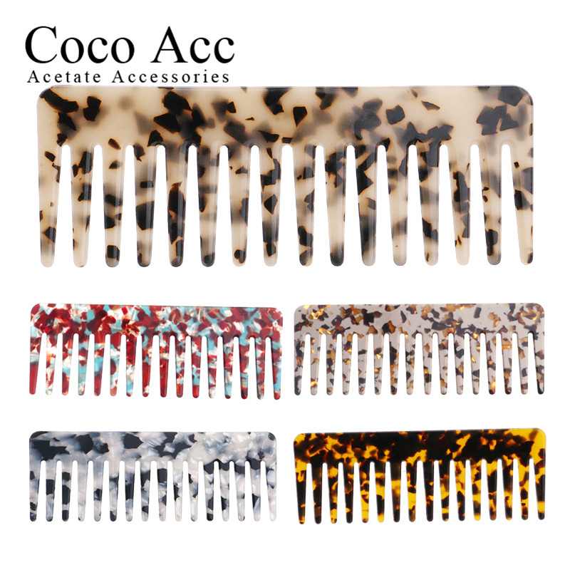 Wholesale Customer Order Remaining Products Comfortable Acetate  Beige Tortoise Shell Acetate Hair Combs For Fashion Women Girls