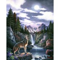 Hand painted oil paintings Landscapes Wolf Moon canvas art beautiful picture for living room wall decor