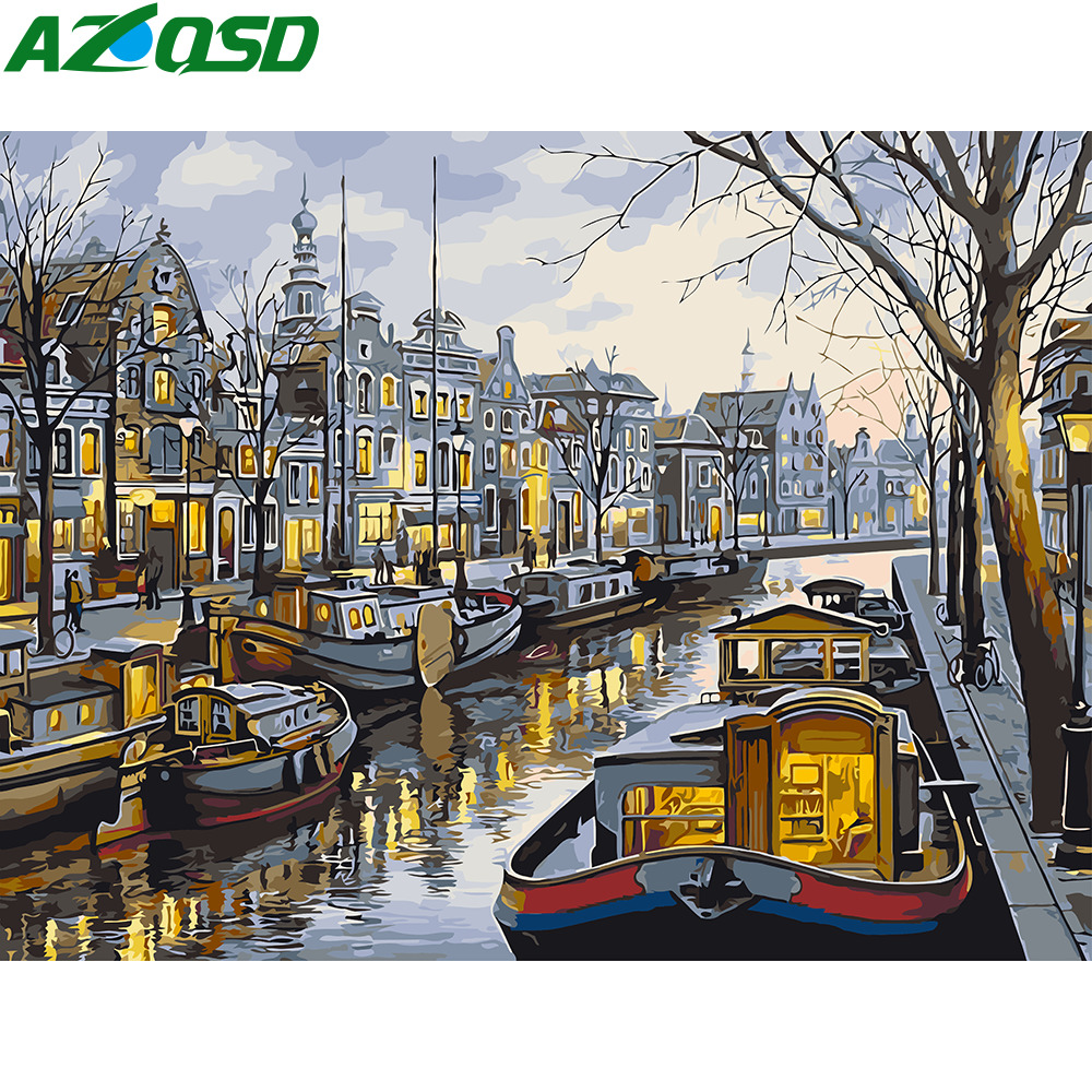AZQSD DIY Oil Painting By Numbers City Scenery Paint Canvas Picture Hand Painted Coloring By Numbers Landscape SZYH-A800