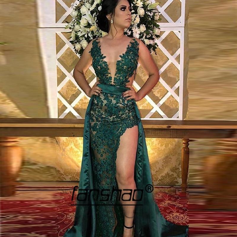 Green Evening Dresses High Slit Applique Illusion See Through Deep-v Dubai Saudi Arabic Evening Gown Boho Prom Dress
