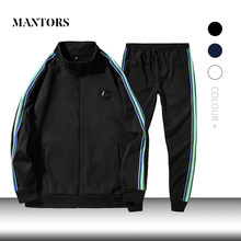 New Men Tracksuit Solid Stripe Casual Sets Men's Sportswear Jacket+Pants Two Piece Sets 2019 Autumn Male Sporting Suit Slim Fit(China)